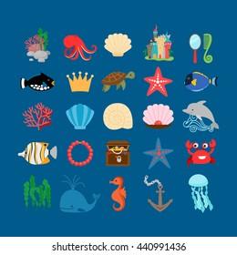 Underwater set. Marine life and underwater plants, treasure and cartoon ocean animals. Vector illustration