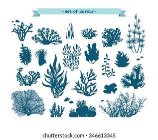 Underwater set - silhouette of corals and algae on a white background.