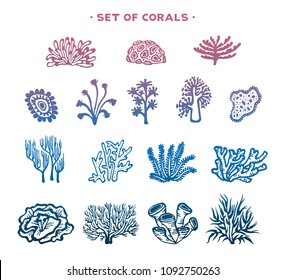 Underwater set - silhouette of corals and algaes on a white background. Vector illustration.