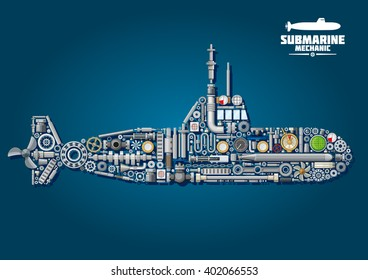 Underwater submarine mechanics scheme composed of weapon and details with propellers and gears, chains and bearings, sonar, periscope, torpedo and engine order telegraph, portholes, cranks and gauges