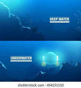 Underwater sunken ship and submarine landscape