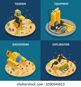 Underwater tourism experience discoveries and professional scuba diving equipment 4 isometric icons concept square isolated vector illustration