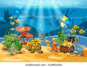 Underwater treasure, chest at the bottom of the ocean, gold, jewelry on the seabed. Underwater landscape, corals, seaweed, tropical fish, vector, cartoon style, isolated