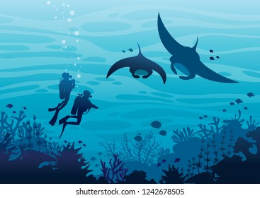 Underwater tropical marine wildlife. Silhouette of scuba divers and two mantas swimming near the coral reef and fishes on a blue sea ocean. Vector sea illustration. Water sport.