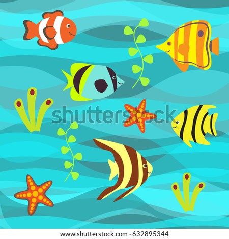 063e9b0c3d78 Underwater Vector Background Tropical Sea Fish Stock Vector (Royalty ...