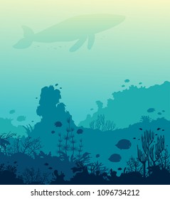 Underwater vector illustration - silhouette of whale, coral reef and school of fish on a blue sea. Ocean wildlife.
