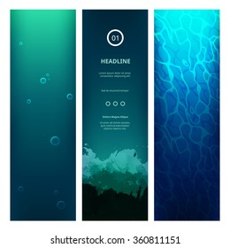 Underwater View Blue Background with Waves, Bubbles, Sunlight and Ripples. Vector Vertical Banners for Web Sites. Ocean or Sea Under Water.