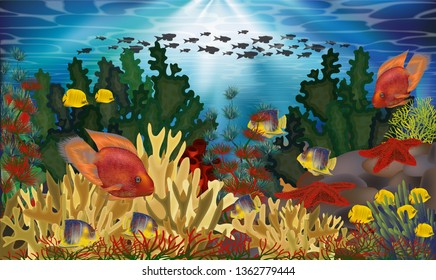 Underwater wallpaper with algae and tropical fish, vector illustration