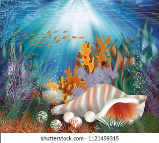 Underwater wallpaper with pearl shell, vector illustration