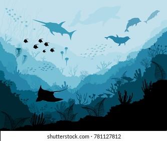 Underwater wildlife, Scat, shark, dolphins