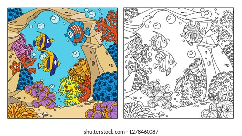 Underwater world with arch of stone, corals, fish, algae and anemones color and outlined isolated on white background