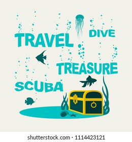 Underwater world background. Underwater landscape with sunken ship and treasure chest. Marine life and fauna. . Sinking words with bubbles