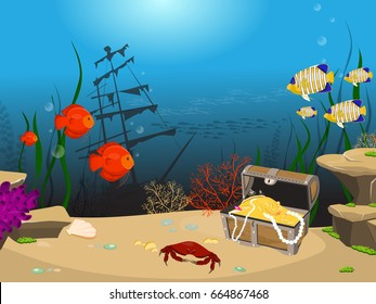 Underwater world background. Underwater landscape with sunken ship and treasure chest. Marine life and fauna. Fish swim around a treasure chest.