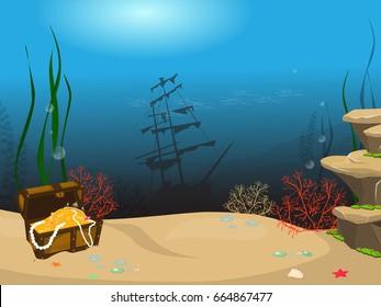 Underwater world background. Underwater landscape with sunken ship and treasure chest. Marine life and fauna.