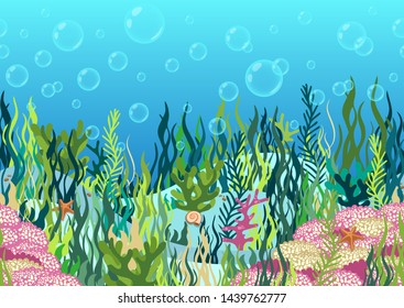 Underwater world background, seabed with seaweed and coral reef, seascape horizontal seamless border, ocean bottom, multicolored realistic hand drawn, blue marine, flat drawing. Vector illustration