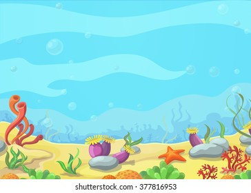 Underwater world blue sea, starfish, vector illustration