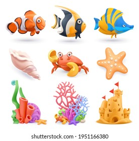 Underwater world cartoon icon set. Tropical fish, corals, sand castle, starfish, shell, crab. 3d vector plasticine art objects