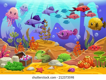 Underwater world, cartoon vector illustration