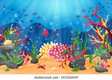Underwater world with a coral reef, and the silhouette of fish on a blue sea background. Panoramic bright seascape. Vector illustration
