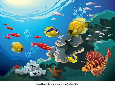 Underwater world, coral reefs beneath the sea, many bright colored fishes, vector illustration