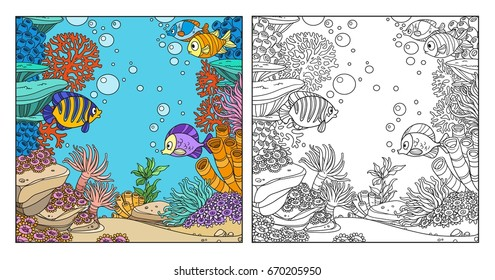 Underwater world with corals, fish, algae and anemones coloring page coloring page on white background