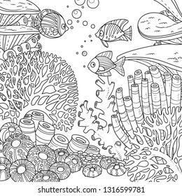 Underwater world with corals and fish outlined for coloring page on white background