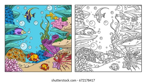 Underwater world with corals, seaweed, anemones and fishes coloring page on white background