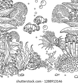 Underwater world with corals, seaweed and fishes coloring page isolated on white background