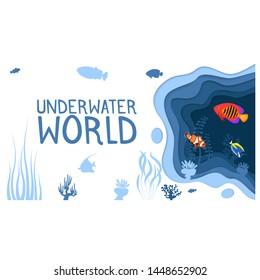 Underwater world design with coral reef fishes in paper cut style. Exotic aquarium vector illustration. Deep blue marine life, diving business. Ocean underwater wildlife. Caribbean aquatic coral fauna