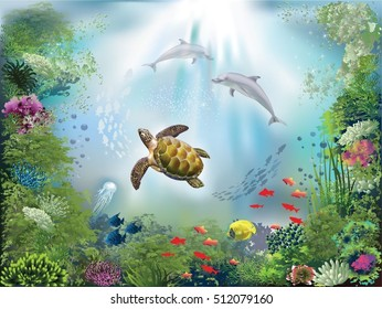 Underwater world with dolphins and a turtle
