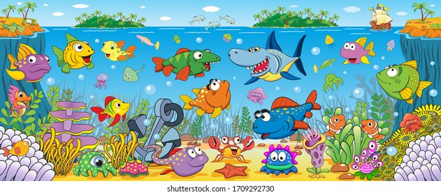 Underwater world with funny bright tropical fish.