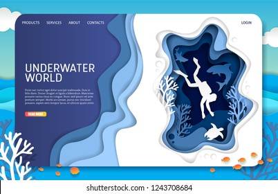 Underwater world landing page website template. Vector paper cut tropical underwater sea cave with coral reef fish seaweed and scuba diver swimming with sea turtle and sharks.