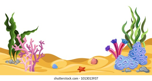 Underwater world, marine life vector illustration, design element for poster or banner with space for text