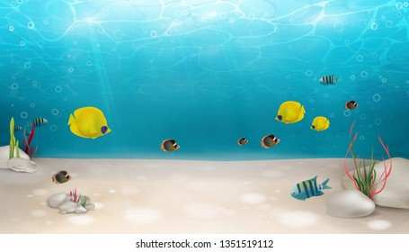 Underwater world nature scene background. Ocean, sea bottom life with blue water, seagrass, exotic fish, bubbles, seaweed, rays of sunshine. Underwater marine life landscape. Summer. Blue underworld.