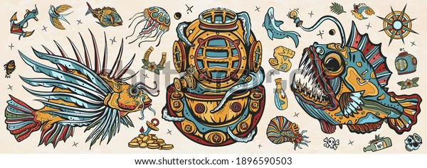 Underwater world. Old school tattoo vector collection. Scuba diver helmet, octopus kraken  tentacles. Sea monsters. Angler fish, lionfish, jellyfish. Deep water diving art. Treasures and life of ocean