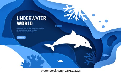 Underwater world page template. Paper art underwater world concept with dolphin silhouette. Paper cut sea background with dolphin, waves, fish and coral reefs. Craft vector illustration