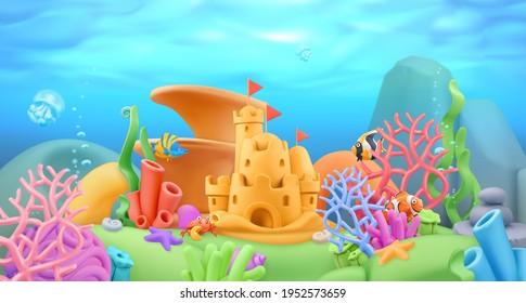 Underwater world panorama landscape. 3d vector cartoon background. Plasticine art illustration