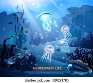 Underwater world sea life poster with transparent colorful jellyfishes coral reef sun rays misty blue background vector illustration