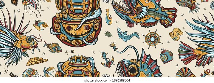 Underwater world seamless pattern. Old school tattoo style. Scuba diver helmet, octopus kraken  tentacles. Sea monsters. Angler fish, lionfish, jellyfish. Deep water diving. Life of ocean background