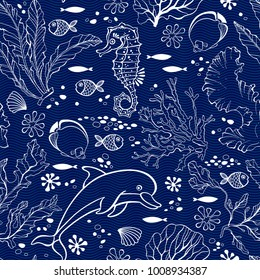 Underwater world. Seamless pattern with seahors, dolphin and  plants. Vector illustration.