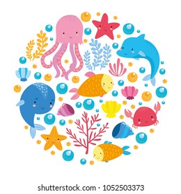 underwater world set with fish, dolphin, crab, seaweed, coral, starfish, seashells. ocean for children. cute fish for children