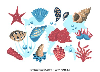 Underwater world set vector illustration. Collection consist of subaqueous symbols such as starfish shell corals and submersed plants flat style design. Undersea life concept. Isolated on white