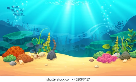 Underwater world, vector art and illustration.