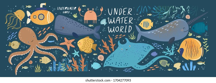 Underwater world! Vector cute illustration ocean or sea with octopus, whale, narwhal, jellyfish, various fish, water marine animals and plants isolated objects set. Drawings for banner, card, postcard
