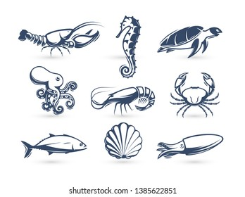 Underwater world vector icon collection. Engraving silhouette modern style. Lobster, turtle, crab, seahorse, shrimp, octopus, tuna, squid, shell icons Vector illustrations for on blank background