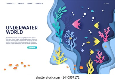 Underwater world vector website template, web page and landing page design for website and mobile site development. Aquarium, undersea cave, deep ocean bottom landscape and marine life.