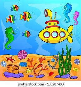 Underwater world with yellow submarine. Vector illustration