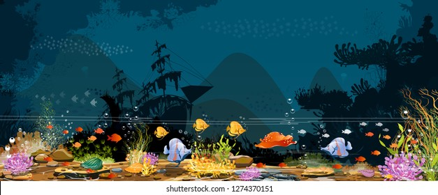 Underwater world-Marine Life Landscape-Coral reefs, old boats, rocks and fish with different underwater creatures For printing, create videos or web graphic design, poster-vector card user interface