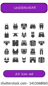 underwear icon set. 25 filled underwear icons.  Collection Of - Overall, Clothes, Shorts, Pants, Tank top, Bikini, Swimsuit, Underwear, Cardigan, Hoodie, Diaper, Jeans, Swim shorts