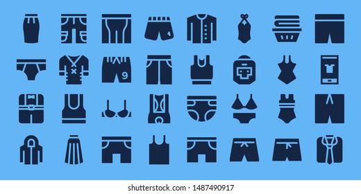 underwear icon set. 32 filled underwear icons. on blue background style Simple modern icons about  - Skirt, Underwear, Clothes, Hoodie, Shorts, Tank top, Pants, Brassiere, Short